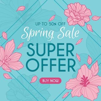Bannière de vente de printemps dessinés à la main