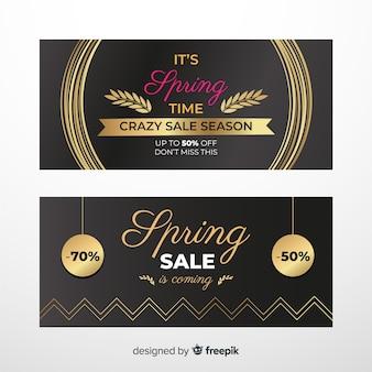 Bannière de vente de printemps doré