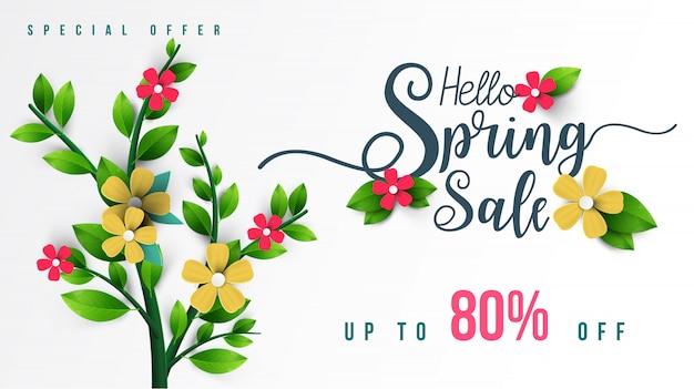Bannière de vente de printemps avec feuille verte