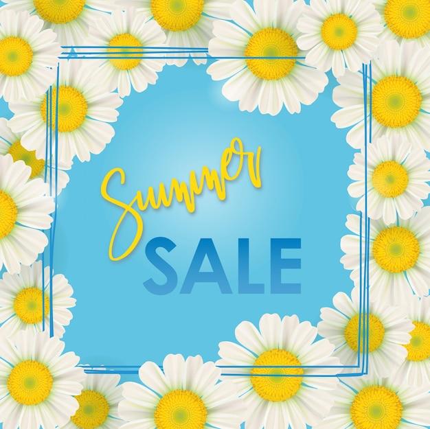 Bannière de vente de printemps, fleurs de camomille