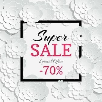 Bannière de vente de printemps avec fleurs coupées en papier 3d et cadre noir. vente et publicité d'offres spéciales