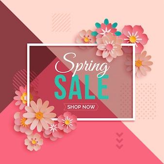 Bannière de vente de printemps avec des fleurs en papier rose