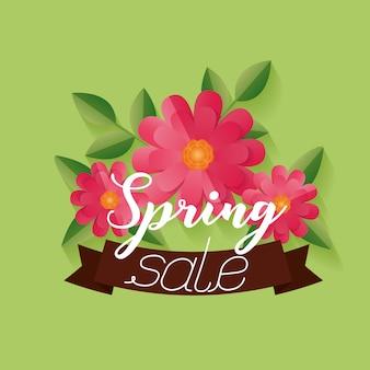 Bannière de vente de printemps avec des fleurs et ruban