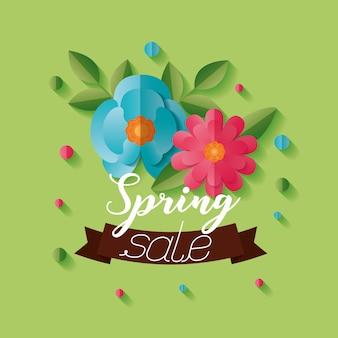 Bannière de vente de printemps avec des fleurs