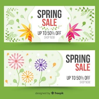 Bannière de vente de printemps floral