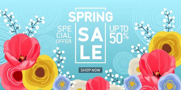 Bannière de vente de printemps avec fond de fleurs