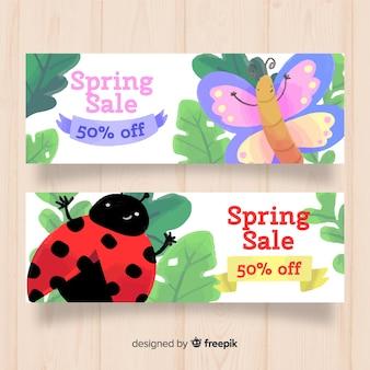 Bannière de vente printemps insectes dessinés à la main