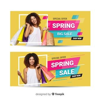 Bannière de vente de printemps photographique