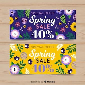 Bannière de vente de printemps plat