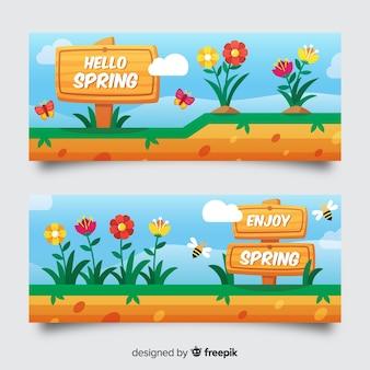 Bannière de vente printemps signe dessiné à la main