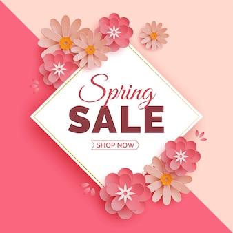 Bannière de vente de printemps de style moderne avec des fleurs en papier