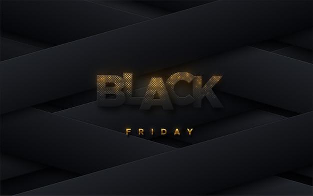 Bannière de vente promotionnelle du vendredi noir avec signe scintillant sur fond géométrique incliné