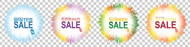 Bannière de vente quatre saisons sur fond transparent. ensemble de bannière hiver, printemps, été, automne.