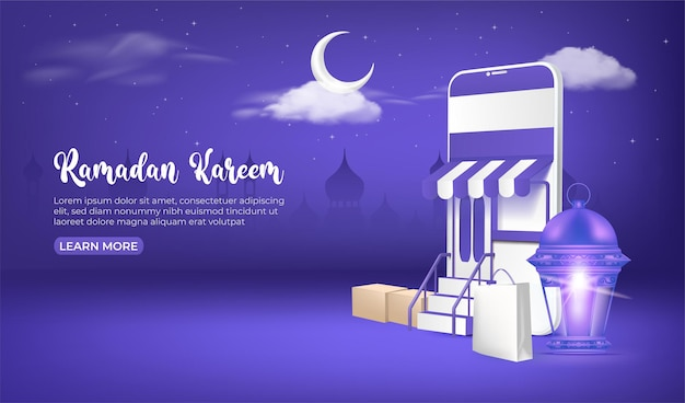 Bannière de vente ramadan, achats en ligne de ramadan