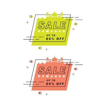 Bannière de vente ramadan, étiquette de réduction et meilleure offre