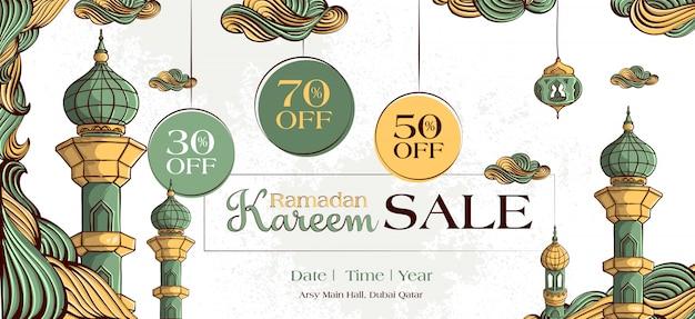 Bannière de vente ramadan kareem avec ornement illustration islamique dessinés à la main sur fond grunge blanc.
