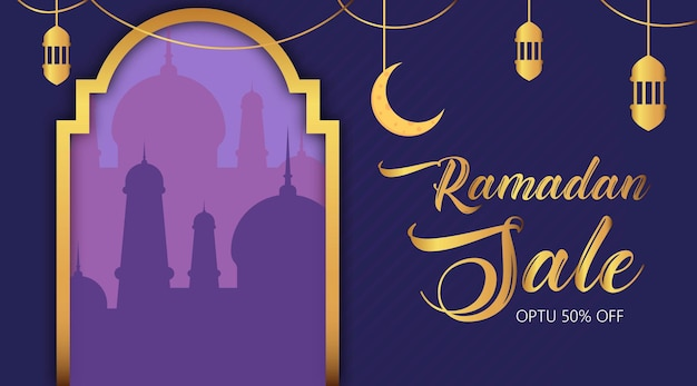 Bannière de vente ramadan kareem