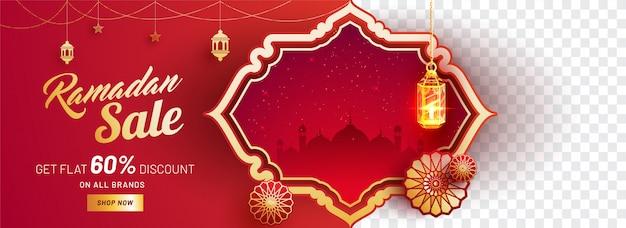Bannière de vente ramadan avec des offres de réduction de 60%.