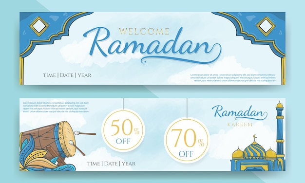 Bannière de vente ramadan et ramadan de bienvenue dessiné à la main