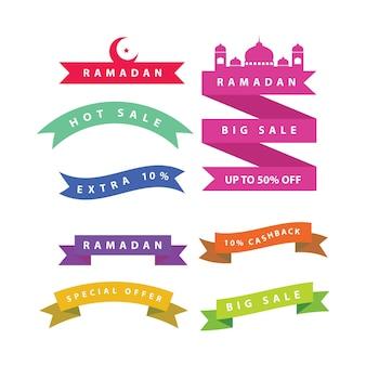 Bannière de vente ramadan avec rubans, remise et étiquette de la meilleure offre