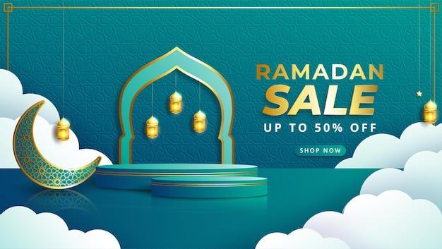 Bannière de vente réaliste ramadan kareem avec podium 3d et cadre de réduction