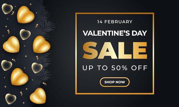 Bannière de vente réaliste de la saint-valentin avec coeur