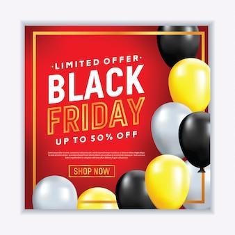 Bannière de vente réaliste vendredi noir avec des ballons
