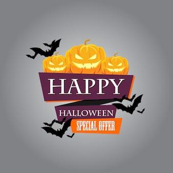 Bannière de vente et de remise pour halloween