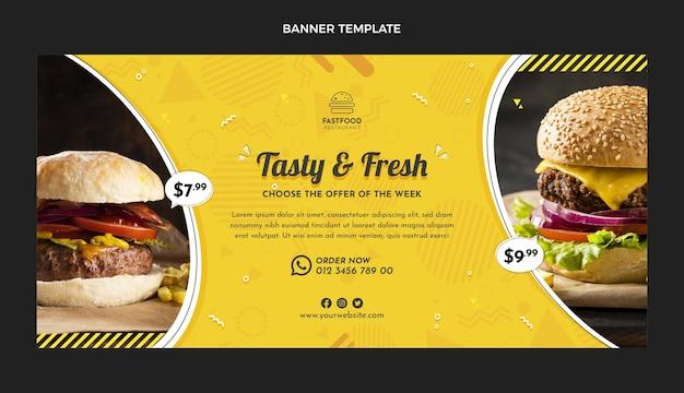 Bannière de vente de restauration rapide design plat