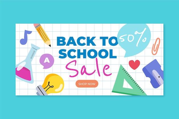 Bannière de vente de retour à l'école