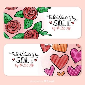 Bannière de vente de roses et de coeurs