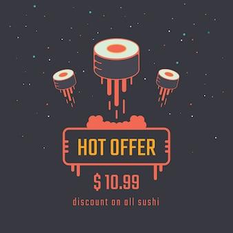 Bannière de vente de rouleau de sushi