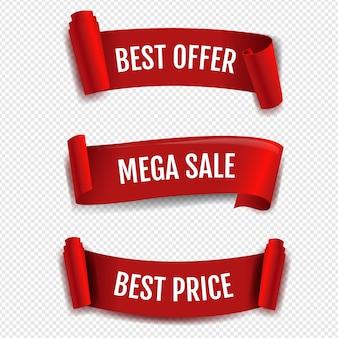 Bannière de vente de ruban rouge isolé sur transparent