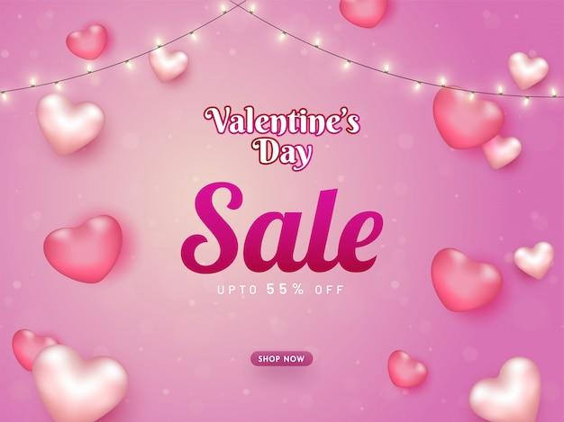 Bannière de vente de la saint-valentin avec 55% de réduction