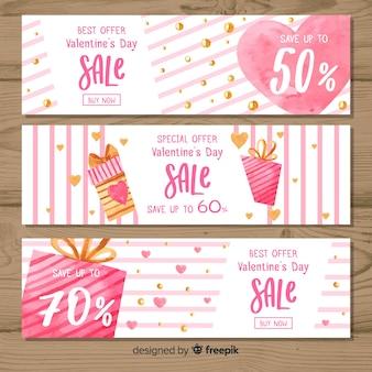 Bannière de vente saint valentin aquarelle rayures