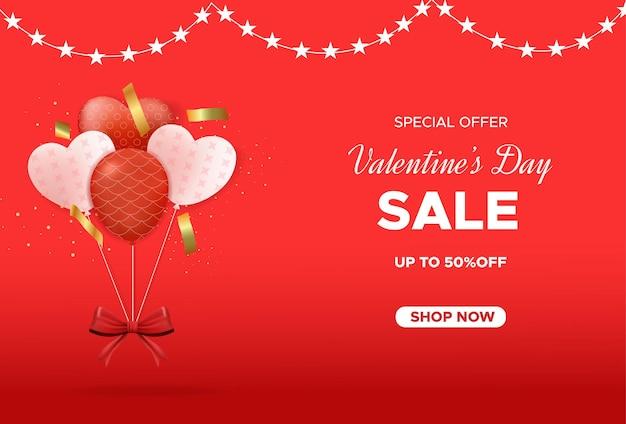 Bannière de vente saint valentin avec des ballons d'amour