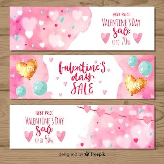 Bannière de vente saint valentin ballons aquarelle