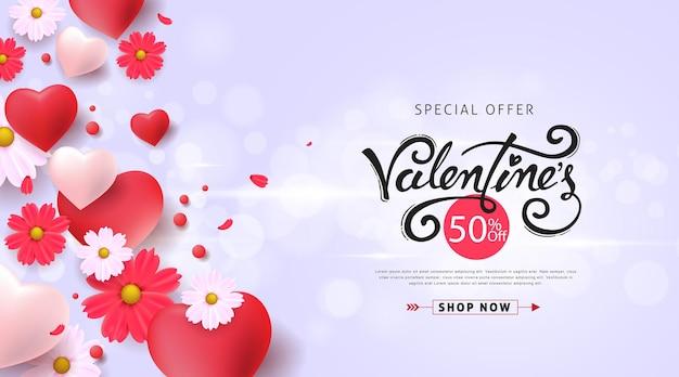 Bannière de vente de la saint-valentin avec des ballons en forme de coeur et des fleurs.