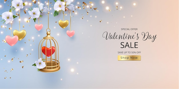 Bannière de vente de la saint-valentin. cage dorée avec un cœur à l'intérieur et de belles fleurs blanches