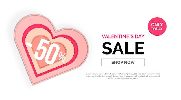 Bannière de vente de la saint-valentin coeur papercut rose et rouge 50% de rabais