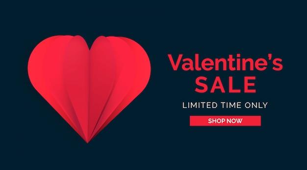 Bannière de vente de saint-valentin coeur papercut rouge style casino