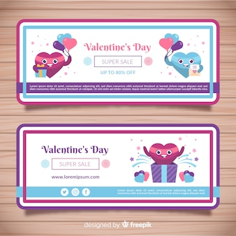 Bannière de vente saint valentin coeur souriant
