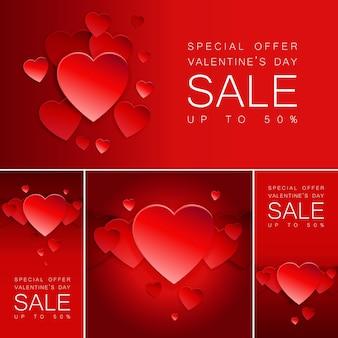 Bannière de vente saint valentin avec coeur.