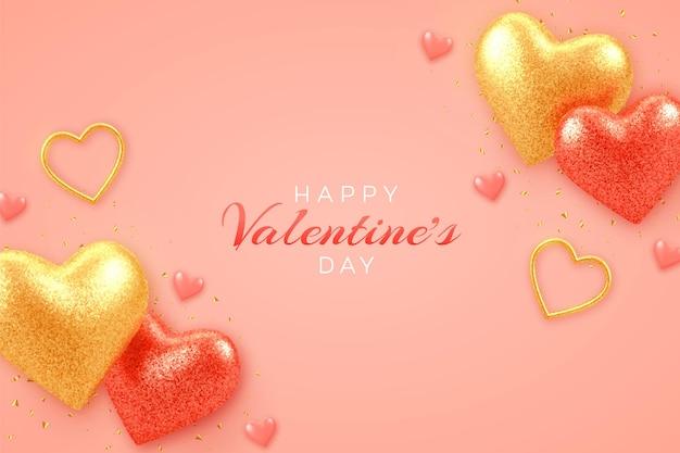 Bannière de vente saint valentin avec des coeurs de ballons 3d rouges et or réalistes brillants avec texture de paillettes