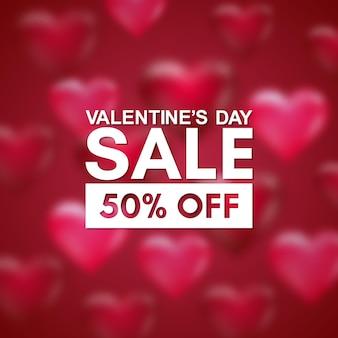 Bannière de vente saint valentin avec coeurs flous