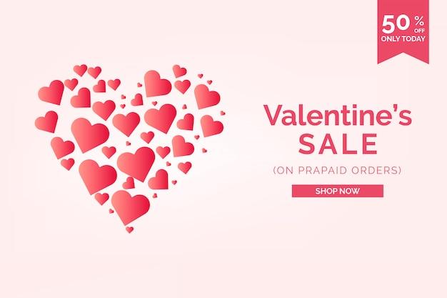 Bannière de vente de la saint-valentin coeurs formant un coeur