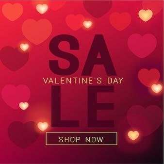 Bannière de vente de saint valentin en couleurs rouges et coeurs brillants