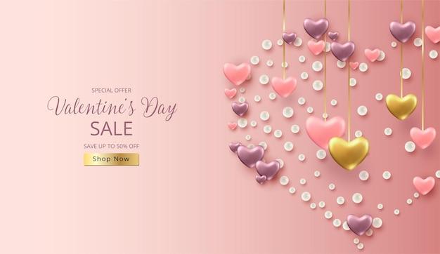 Bannière de vente de la saint-valentin avec une forme de coeur formée de coeurs en trois dimensions et d'éléments décoratifs