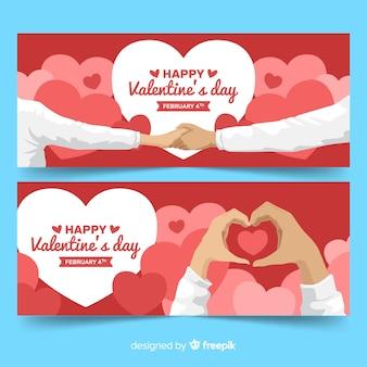 Bannière de vente saint valentin mains plates