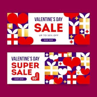 Bannière de vente saint valentin avec offre de réduction. vente de la saint-valentin avec des cadeaux et des coeurs.